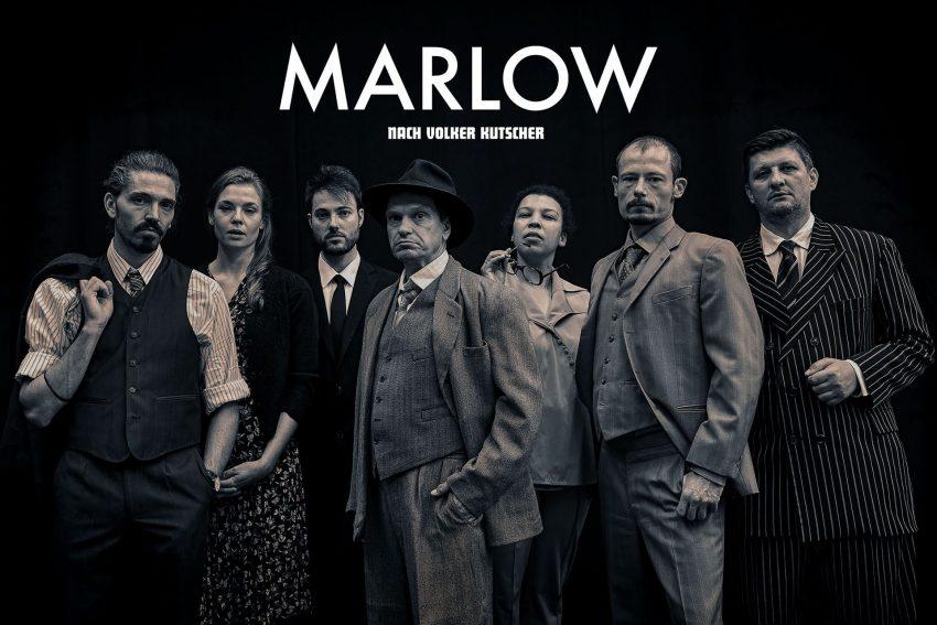 """Marlow"" am WLT. v.l. Maximilian von Ulardt, Franziska Ferrari, Tobias Schwieger, Guido Thurk, Samira Hempel, Mario Thomanek und Mike Kühne."