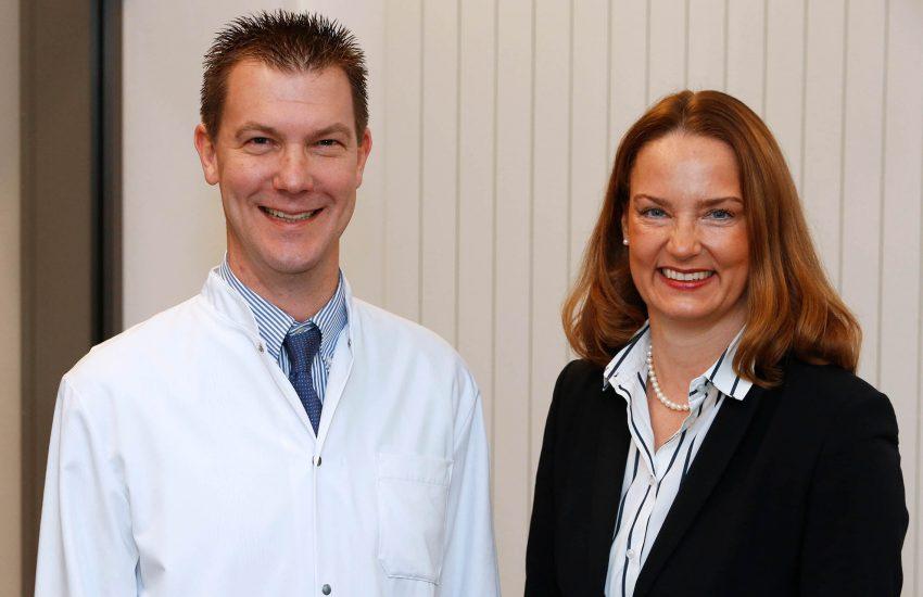 Professor Dr. Dirk Bausch und Simone Lauer, Geschäftsleitung der St. Elisabeth Gruppe