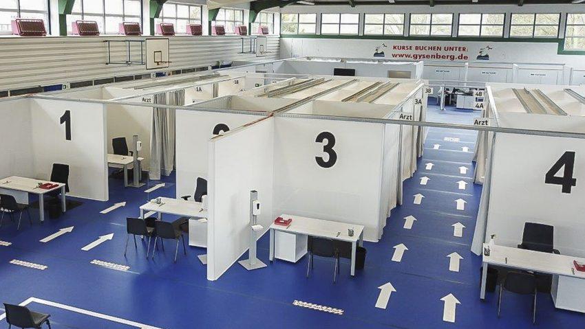 Aufnahme des Impfbetriebes im Impfzentrum Gysenbergpark am 8.2.2021.