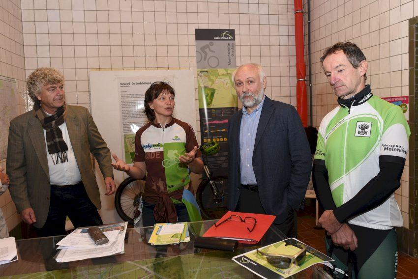 Ulrich Carow (RVR), Melanie Hundacker (simly out mountainbike), Josef Haug (Förderverein Europäisches Mountainbike-Zentrum NRW e.V.), Frank Schäfer (RC Buer / Westerholt e.V.)