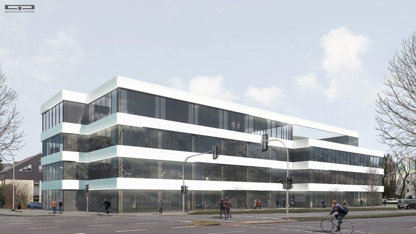 Die Visualisierung der neuen Zahnklinik, die am Westring Ecke Behrensstraße entstehen soll.