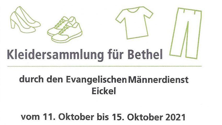 Kleidersammlung für Bethel vom 11. bis 15. Oktober 2021.