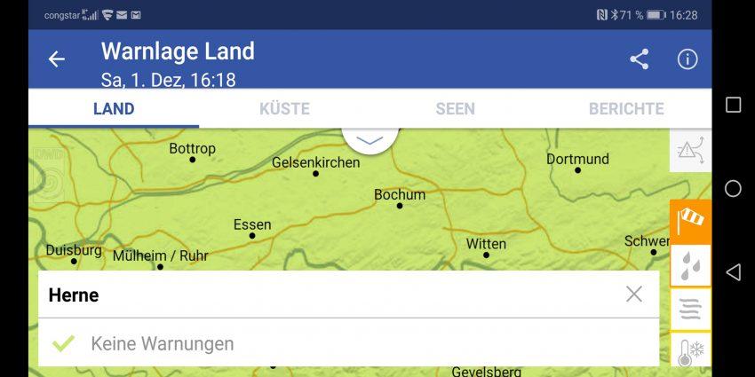 Screenshot der App WarnWetter des DWD vom Samstag (01.12.2018) für das Stadtgebiet Herne (NW).