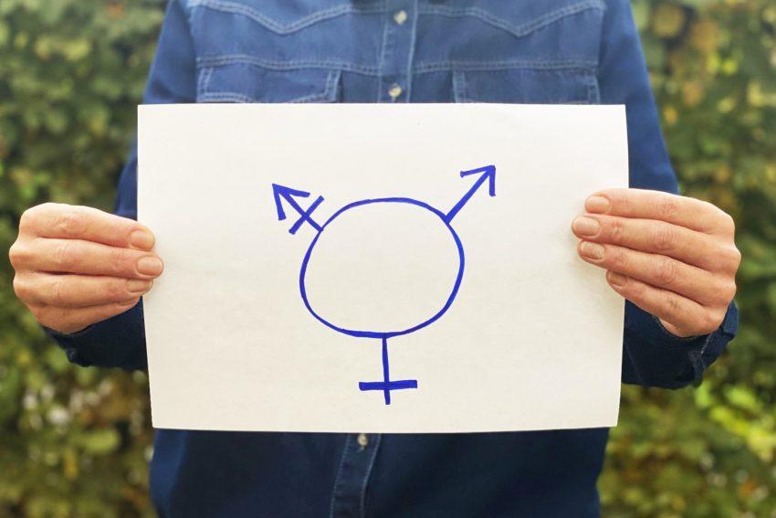 Eine Variante der Transgender-Symbole. Das das männliche (oben rechts) und das weibliche Geschlecht (unten). Der dritte Arm repräsentiert den Transgender-Menschen.