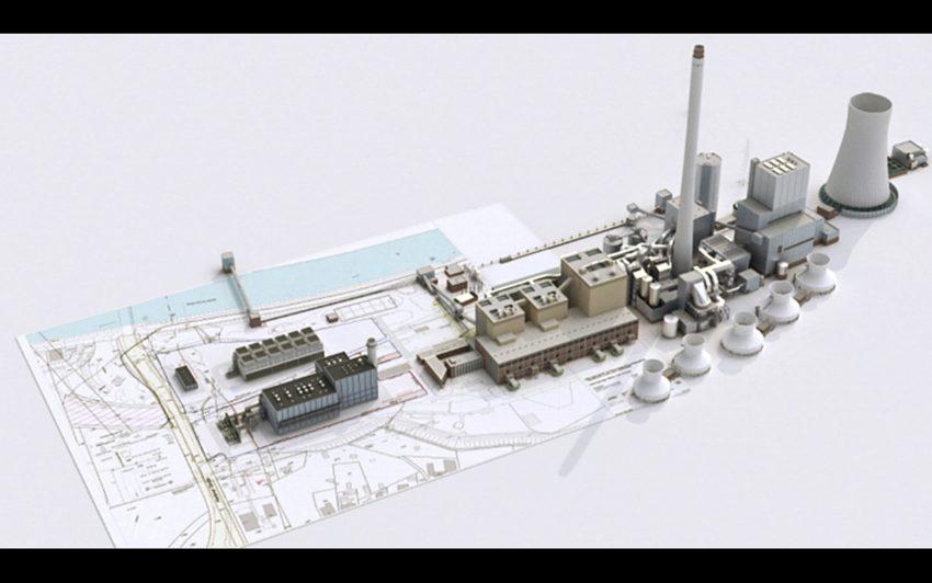 Visualisierung des neuen Kraftwerks, links im Bild.