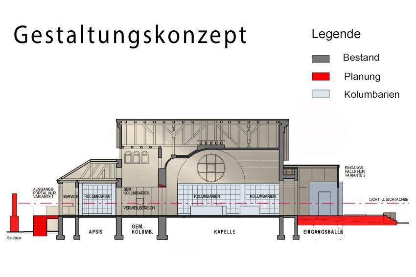 Gestaltungkonzept für den Umbau der Kapelle auf dem Horsthauser Friedhof in Herne (NW) zu einem Indoor-Kolumbarium.