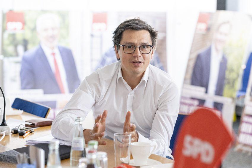 Wahlkampfauftakt der SPD in Herne (NW) mit Vorstellung der Kampagne, am Montag (03.08.2020). Im Bild: Unterbezirksvorsitzender Alexander Vogt.