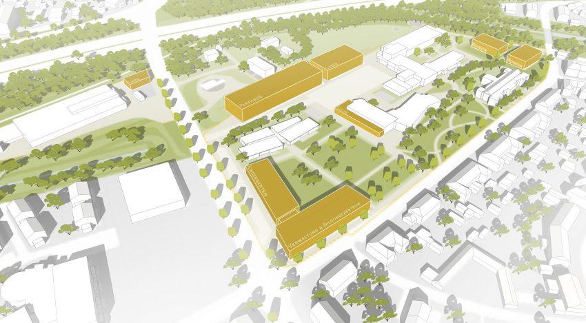 Plan zu den Neubaumaßnahmen der Wewole Stiftung am Standort Langforthstraße in Herne (NW).