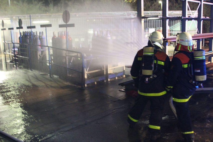 Übung der Feuerwehren auf dem Steag-Gelände.