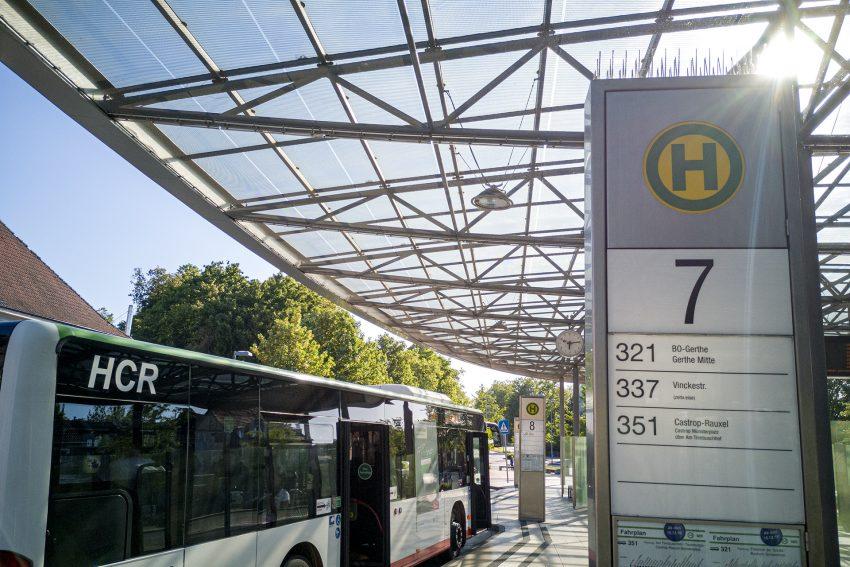 Der Zentrale Omnibusbahnhof (ZOB) am Bahnhof in Herne (NW), am Donnerstag (28.05.2020).