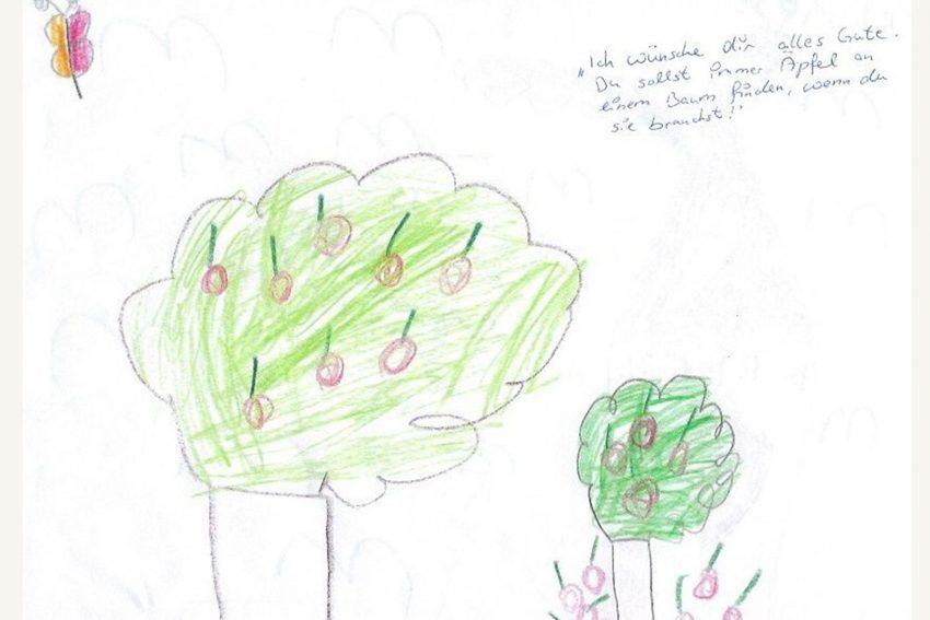 """Der """"Baum der Erkenntnis"""", der auch im Winter grün sein musste, denn Früchte hängen nicht an abgeblätterten Bäumen."""