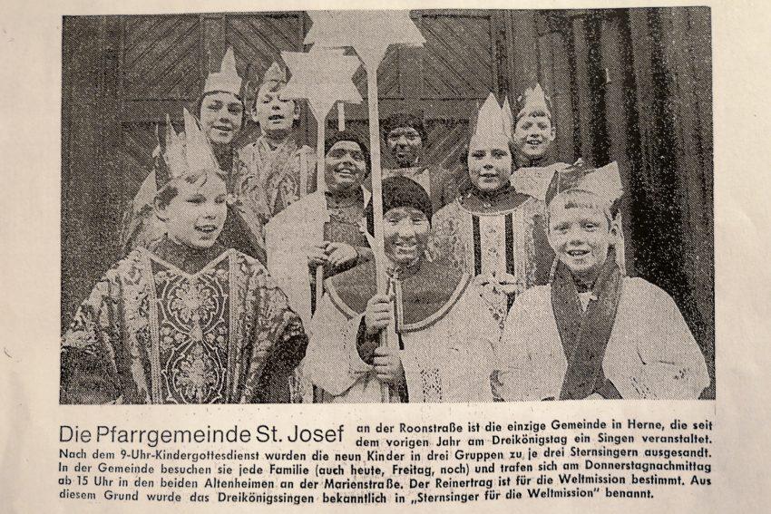 Sternsinger St. Josef, Herne-Horsthausen. Zeitungsfoto vom 06.01.1972