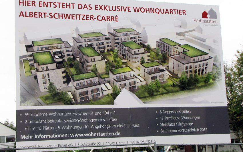 Plan und Bauschild des Albert-Schweitzer-Carrés.