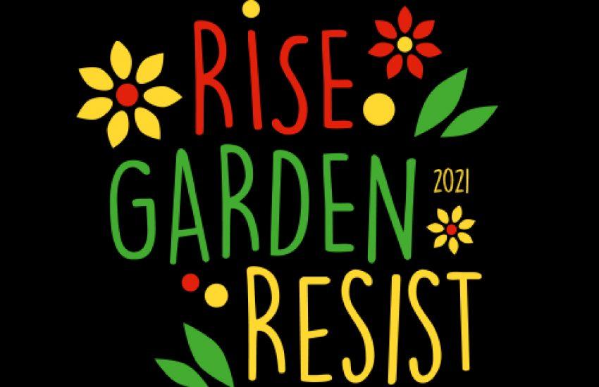 Das Motto 'Rise-Garden-Resist' von One Billion Rising 2021.