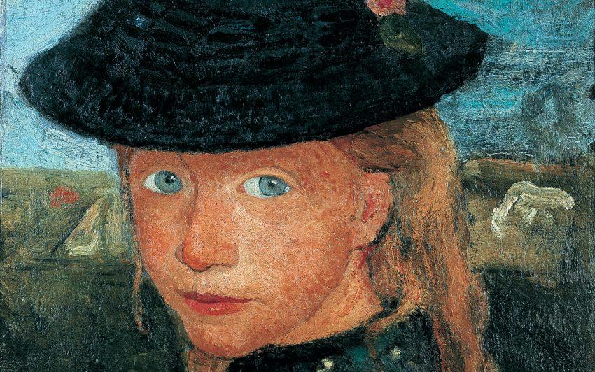 Kopf eines kleinen Mädchens mit Strohhut, 1904.