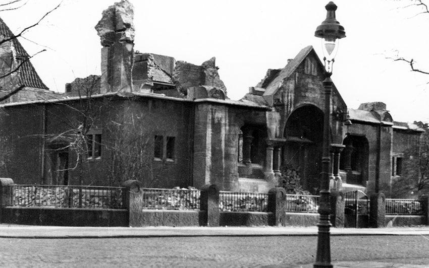 Zerstörte Synagoge in Herne.