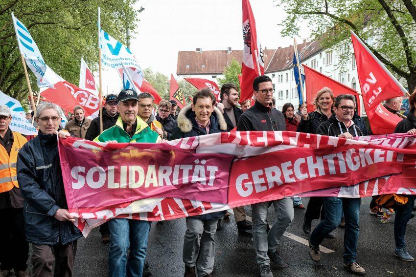 Demonstrations-Zug zum 1. Mai 2018 in Herne.