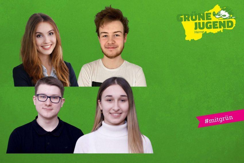 Feb 2021, Neuer Jugendvorstand der Grünen Jugend: u.v.l. Sprecher-Duo Justus Lichau und Anna Schwabe, o.v.l. Beisitzerin Vivien Wefringhaus und Schatzmeister Dominik Pellowski.